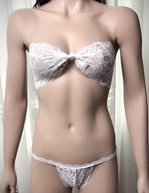 Sexy White Pure Color Decorated Simple Bra Sets