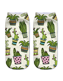 Trendy White Cactus Pattern Decorated Short Sock