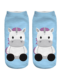 Trendy Blue Unicorn Pattern Decorated Short Sock