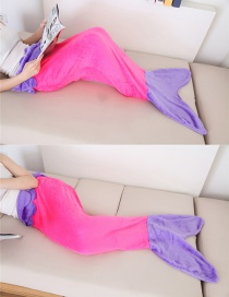 Trendy Purple+plum Red Mermaid Tail Shape Decorated Double Layer Blanket