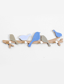 Fashion Blue+coffee Little Birds Decorated Hook Ornaments
