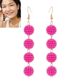 Fashion Plum Red Ball Shape Decorated Pure Color Long Earrings