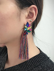 Fashion Multi-color Diamond Decorated Long Tassel Earrings