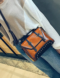 Fashion Brown Rivet Decorated Pure Color Shoulder Bag