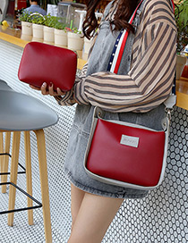 Fashion Red Coloured Ribbon Decorated Shoulder Bag(2pcs)