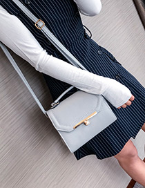 Fashion Gray Buckle Decorated Square Shape Handbag