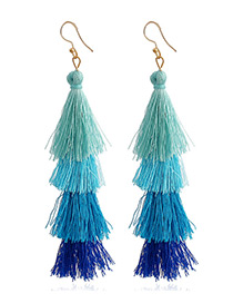 Elegant Blue Tassel Decorated Umbrella Shape Earrings