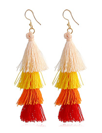 Elegant Orange Tassel Decorated Umbrella Shape Earrings