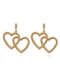 Elegant Gold Color Heart Shape Decorated Pure Color Earrings