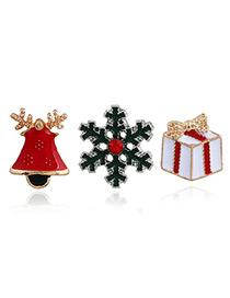 Elegant Multi-color Snowflake&gift Box Shape Decorated Brooch