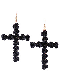 Fashion Black Rose Decorated Cross Shape Design Earrings