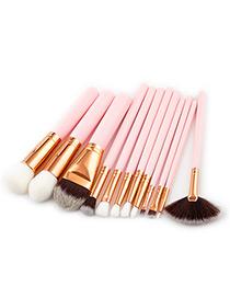 Fashion Pink Sector Shape Decorated Makeup Brush(12pcs)