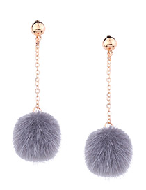 Cute Gray Fuzzy Ball Decorated Pom Earrings