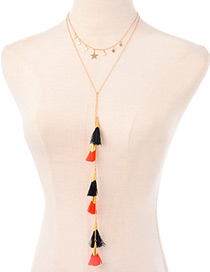 Bohemia Gold Color Tassel Decorated Double Layer Necklace