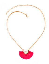 Bohemia Plum-red Fan Shape Decorated Tassel Necklace