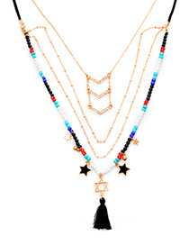Bohemia Multi-color Star Shape Decorated Multilayer Necklace