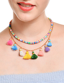 Bohemia Multi-color Tassel Decorated Doubla Layer Necklace