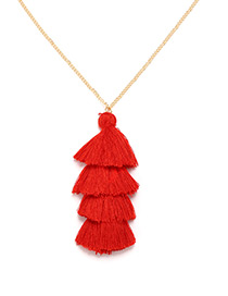 Bohemia Red Pure Color Decorated Tassel Necklace