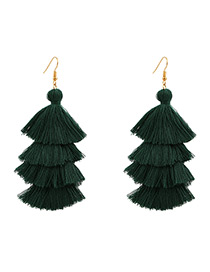 Bohemia Dark Green Pure Color Decorated Tassel Earrings