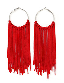 Exaggerated Red Round Shape Decorated Tassel Earrings