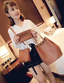 Fashion Light Brown Pure Color Decorated Bags (3pcs)