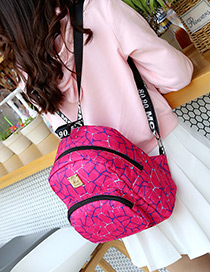 Fashion Plum-red Metal Square Shape Decorated Backpack