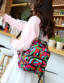 Fashion Multi-color Metal Square Shape Decorated Backpack