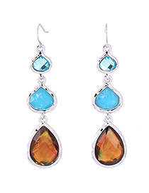 Trendy Blue Water Drop Shape Decorated Long Earrings