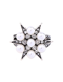 Trendy Silver Color Star Shape Decorated Simple Ring