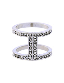Trendy Silver Color Full Diamond Decorated Double Layer Ring