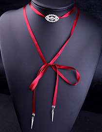 Trendy Red Bullet Shape Pendant Decorated Long Necklace