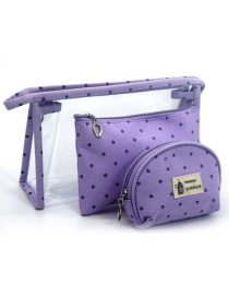 Trendy Purple Letter Pattern Decorated Transparent Cosmetic Bag(3pcs)