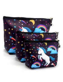 Trendy Black Unicorn Pattern Decorated Cosmetic Bag(3pcs)