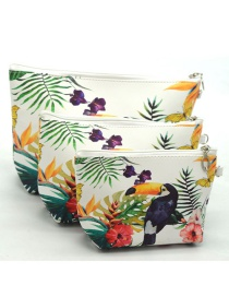 Trendy White+purple Toucan Pattern Decorated Cosmetic Bag(3pcs)