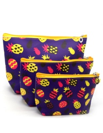 Trendy Yellow+purple Pineapple Pattern Decorated Cosmetic Bag(3pcs)