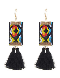 Fashion Black Tassel Decorated Hand-woven Design Earrings