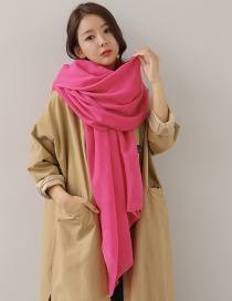 Fashion Plum Red Pure Color Decorated Dual-use Scarf