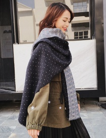Fashion Black Dots Pattern Decorated Dual-use Thicken Scarf