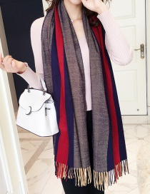 Fashion Navy+red Color Matching Decorated Thicken Scarf
