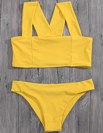 Sexy Yellow Pure Color Decorated Cross Design Bikini