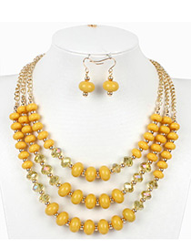 Vintage Yellow Beads Decorated Multi-layer Jewelry Sets