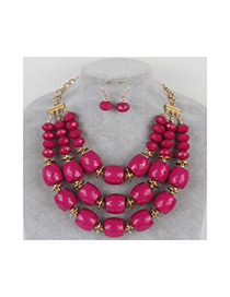 Vintage Plum Red Pure Color Decorated Beads Jewelry Sets