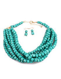 Vintage Dark Green Beads Decorated Pure Color Jewelry Sets