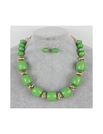 Vintage Green Round Beads Decorated Pure Color Jewelry Sets