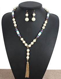 Personality Beige Metal Tassel Decorated Jewelry Sets