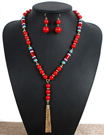 Personality Red Metal Tassel Decorated Jewelry Sets