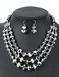 Fashion Silver Color Round Shape Decorated Multilayer Jewelry Sets