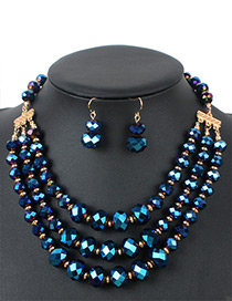 Fashion Blue Round Shape Decorated Multilayer Jewelry Sets