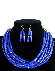 Fashion Blue Pure Color Decorated Jewelry Sets