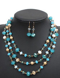 Fashion Blue Crystal Decorated Jewelry Set